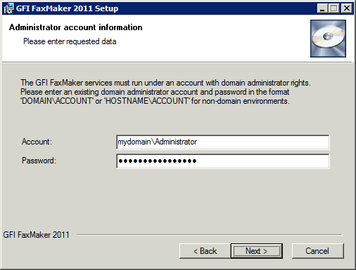 Screenshot 22: Account name for services 8. Provide credentials of an account with administrative privileges, and click Next. NOTE Credentials used for GFI FaxMaker services management.