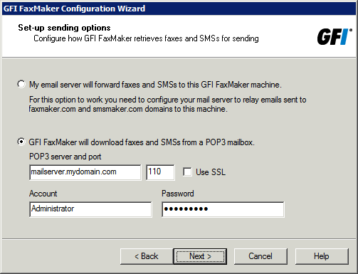 4.3 Run the GFI FaxMaker Configuration Wizard The GFI FaxMaker Configuration Wizard assists you through the basic steps of configuring GFI FaxMaker.