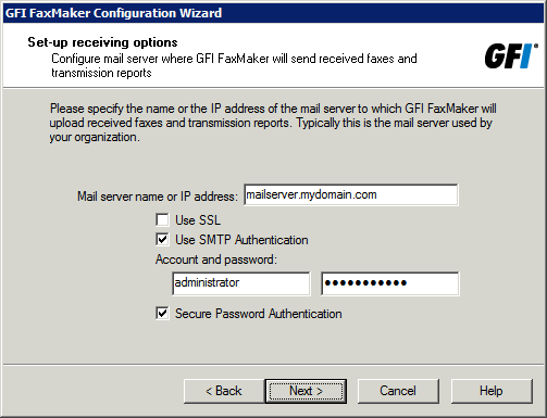 Screenshot 24: The wizard will prompt you for a mail server name 3. Specify mail server details where GFI FaxMaker forwards received emails.