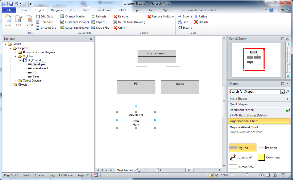Semtalk bpmn tutorial april tutorial semtalk 43 bpmn edition for figure 22 org chart with persons 5 class diagrams and mastershapes open a visio stencil ccuart Images