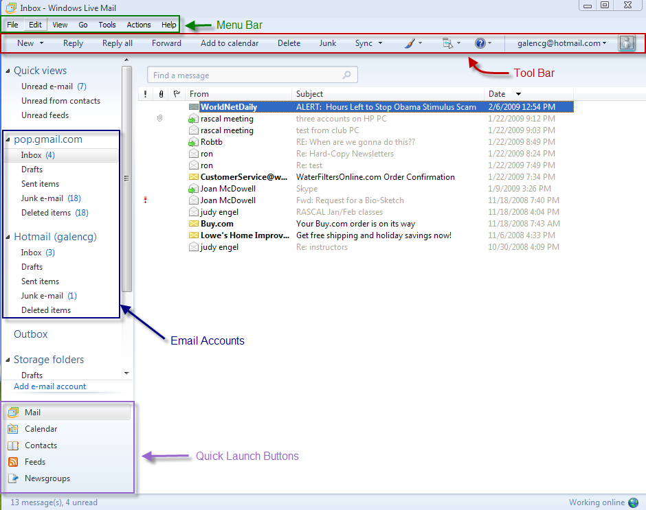 INTERFACE OVERVIEW Windows Live Mail has a somewhat similar look to Outlook Express. You can enable or disable the Menu Bar by using the Menus Button:.