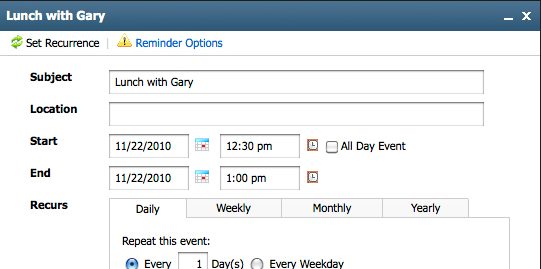 Calendar Adding an Event 1. Click the Calendar link. In the calendar, click the Add Event tab. Or, double-click the time/day on which you want to add an event. 2.