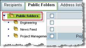 Chapter 9: Managing Public Folders root folder To create a public folder: 1 Select the organization. Ensure that the name of the organization is highlighted. 2 Click the Public Folders tab.