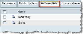 Chapter 10 10 Organizing Email Recipients with Address Lists Overview and tasks From the Address Lists tab, you
