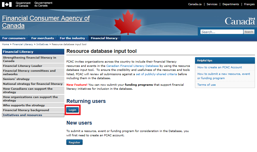 A2 Click on the resource database input tool link.