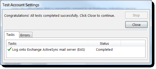 Creating Exchange ActiveSync accounts in Outlook 2013 5. Type the user, server, and login information, and click Next.