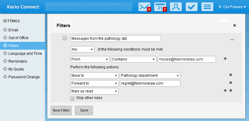 7.4 Creating filters 7. You can edit the Sieve script of the rule by clicking on View Source Edit Source. 8. Save your settings. Kerio Connect 8.4 and older 1.