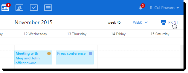 8.8 Printing calendars Printing calendars New in Kerio Connect 8.5! You can print any calendar in any viewing mode.