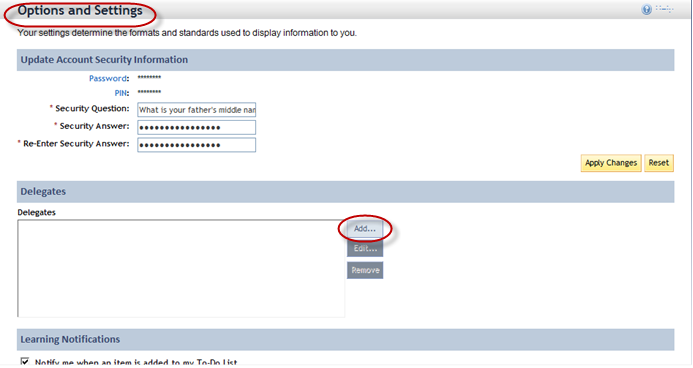 Supervisor Manual Online Exams 2. Click Add in the Delegates area on the Options and Settings screen. See Figure 57. [Figure 57] 3.