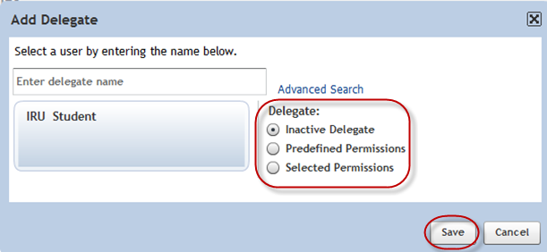 User Supervisor Manual [Figure 58] 6. Once selected, select the level of permissions for the delegate: See Figure 59. Inactive Delegate: selected user is inactive; no permissions are active.