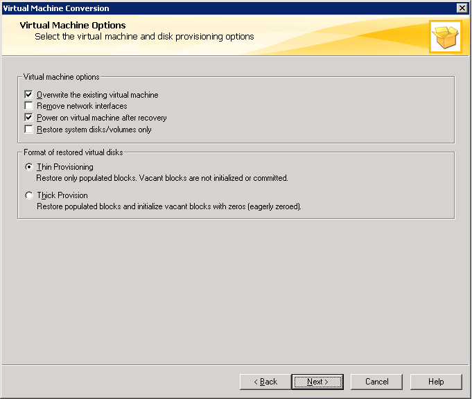 Figure 3 Conversion Options Once this information has been enter the next screen prompts for restore options including whether any existing