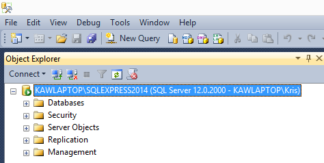 In the Browse for Servers dialog, locate and select SQLEXPRESS2014, then click OK Click Connect. You should see a display similar to the following.