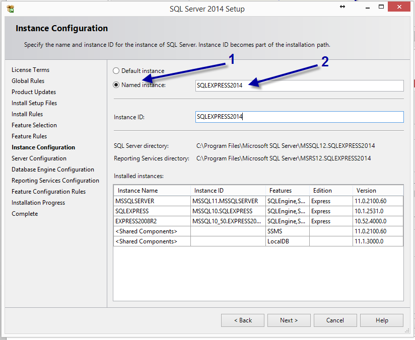 Click the Named instance option on the Instance Configuration tab and name the instance SQLEXPRESS2014.
