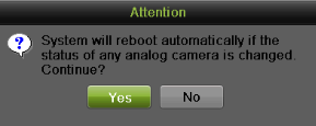 Adding and Removing Analog Cameras Analog cameras can be enabled and disabled in the Cameras menu. To manage analog cameras: 1. Enter the Cameras menu by going to Menu > Cameras Setup > Cameras. 2.