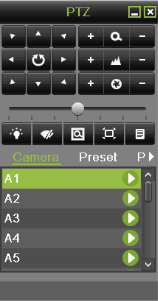 PTZ Control: If the selected camera is a PTZ camera, you may control it directly from the display. Control a PTZ camera as following steps: Steps: 1.