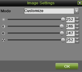 Figure 29 Analog Camera Image Settings Menu Figure 30 IP camera Image Settings Menu 3. For analog camera, there are four preset modes for selection: Standard, Indoor, Dim Light and Outdoor.