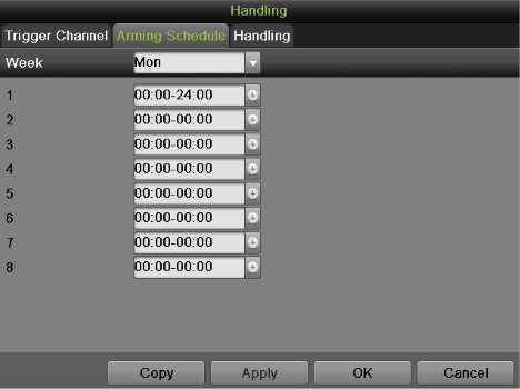 Figure 89 Trigger Channel Settings Menu 1) Select the Trigger Channel tab and check the checkbox of channels which you want the motion detection event to trigger recording.