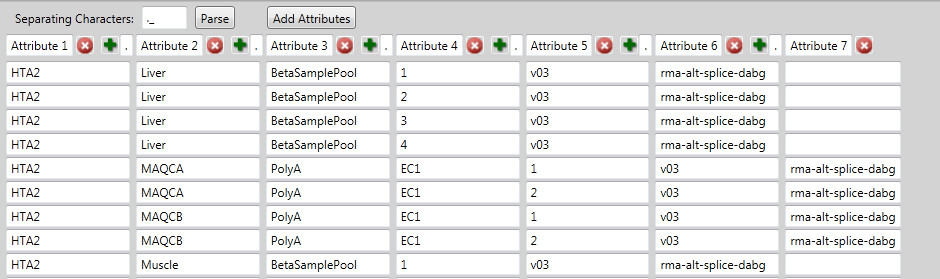 Alternative Splicing Analysis 19 The following window appears: (Figure 2.5) Figure 2.5 Parse File Name window 2. Determine what common separating characters reside within your file names.