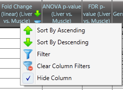 Chapter 4 Exon Level Differential Expression Analysis 91 The following window appears (Fold Change column example shown): (Figure 4.13) Figure 4.13 Filter Properties Editing Filtering Properties: 1.