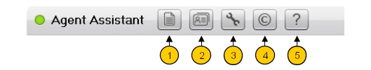 Chapter 1 Figure 1.3: Agent Toolbar The toolbar allows access to: 1. Call Log (see Call Log ) 2. Customer information (see Customer Database ) 3.