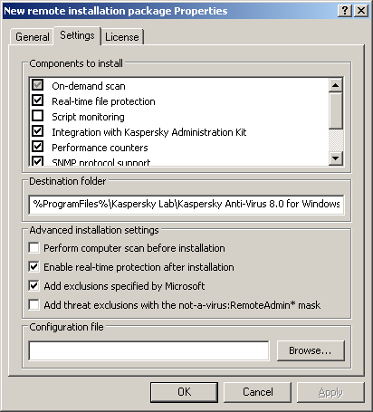 I N S T A L L A T I O N G U I D E Figure 22: The Installation Package Properties dialog box, the Settings tab 3. Create a task of remote installation of the Anti-Virus onto selected computers (group).