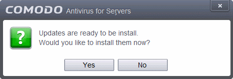 Click 'Yes' to install the updates and keep your CAVS installation up-to-date.