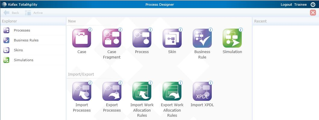 On the Home page of the TotalAgility Designer click the Process Designer Module. 28. The following Process Designer Staging page is displayed. 29.