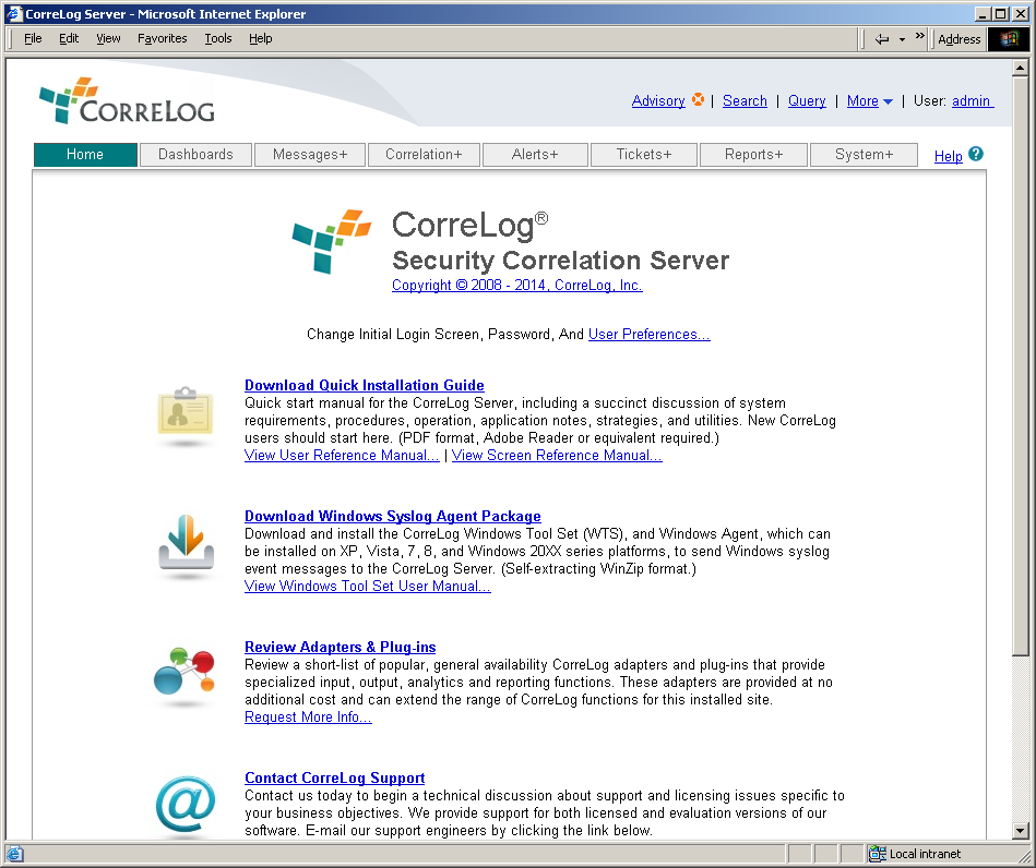 Installing the CorreLog Windows Agent And WTS The CorreLog Windows Agent and Windows Tool Set (WTS) is a standard part of the CorreLog server package.