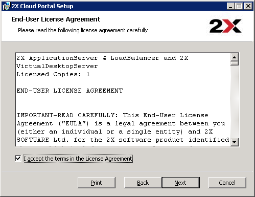 After reading the End-User License Agreement, check the I accept the terms in the