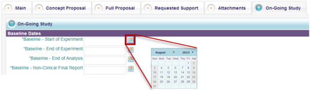 5. Update the Baseline Dates fields (as necessary) by clicking on the calendar icon next to each field 6.