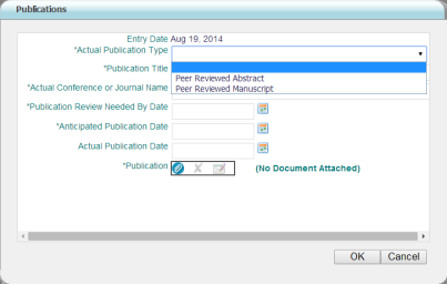 6. The required field Publication Type is marked with an