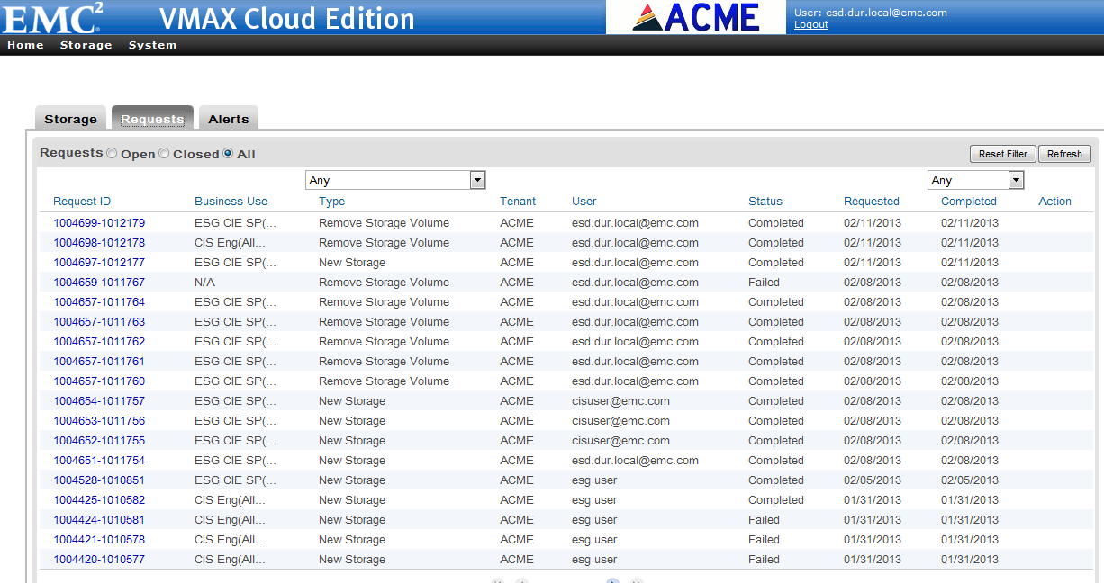 Figure 17 shows the Volume Create request on VMAX Cloud Edition. Figure 17.