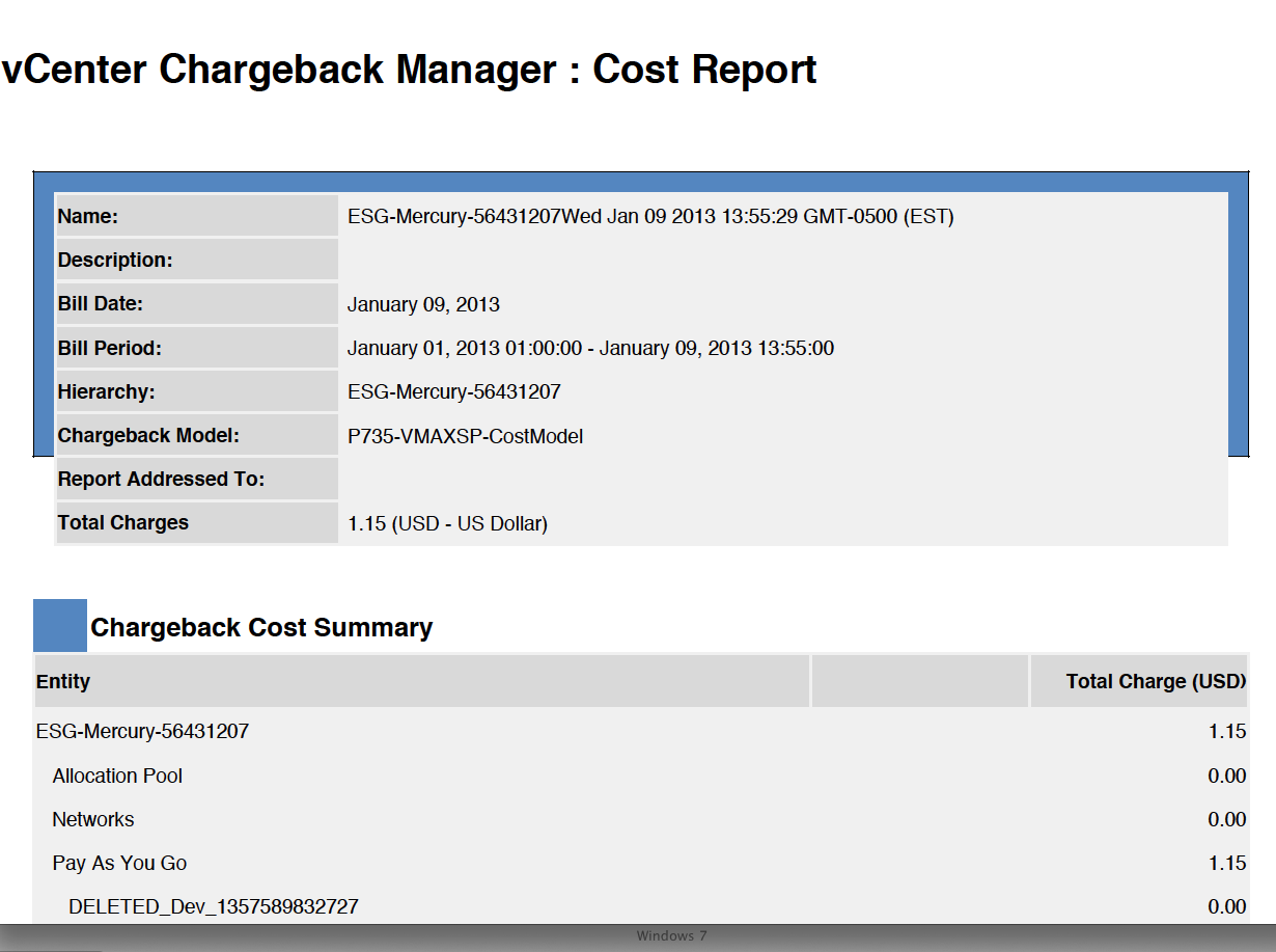 Figure 28. Ad hoc report generated from vcenter Chargeback Tenant user role The tenant user uses the vcloud Director portal URL provided by the tenant administrator.