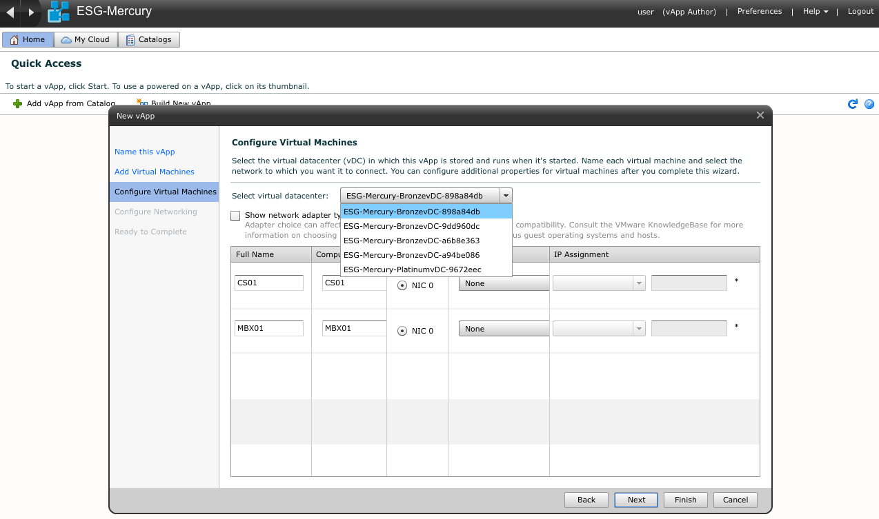 Figure 29. Tenant user s selection of vdc when creating or deploying vapp With vcloud Director 5.