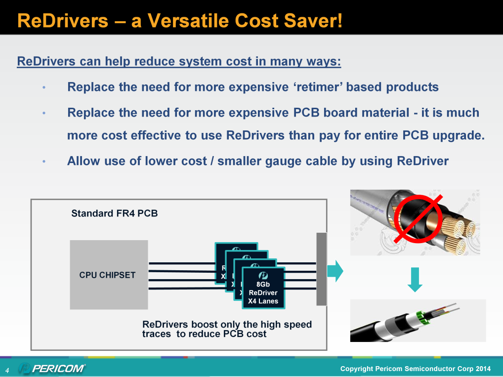 ReDrivers can do much more than just boost signal to extend PCB trace. For most channels, ReDrivers can be used instead of more costly retimer type IC s that also burn more power.