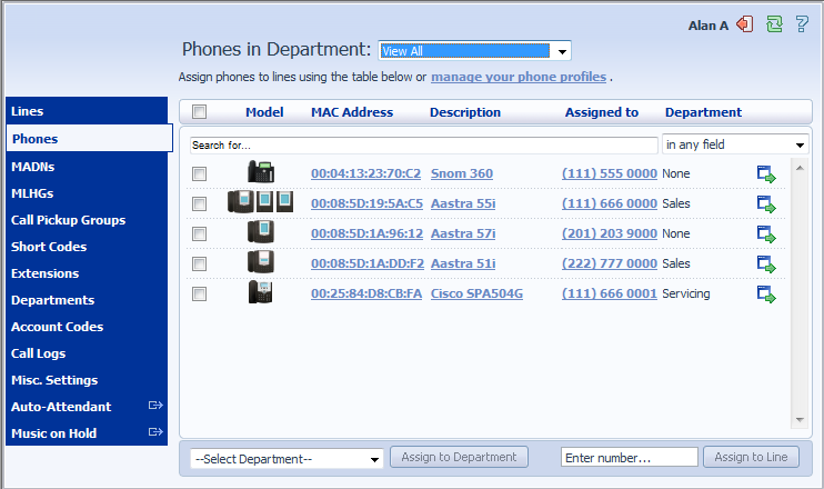 4 Managing Phones with BG Admin To access the Phones page select the Phones link on the left hand side of the page. This page shows you all of the known phones in the current department.