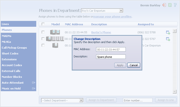 Metaswitch Hosted IP PBX Administrator Guide CONFIDENTIAL 4.1 Modify Phone Description To change the description given to a phone, follow these steps: 1. Click on the current description of the phone.