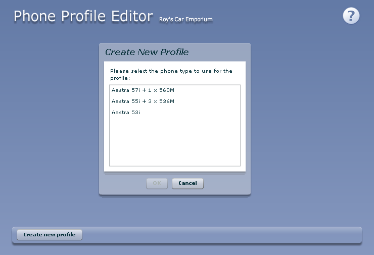 To add a new phone profile, follow these steps: 1. Click on the Create new profile button. 2.