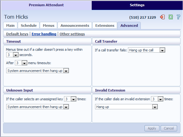 13.3.7 Configuring Premium Attendant Advanced Options In order to configure the advanced setting for your Premium Attendant, click on the advanced tab and define the default handling for each key press.
