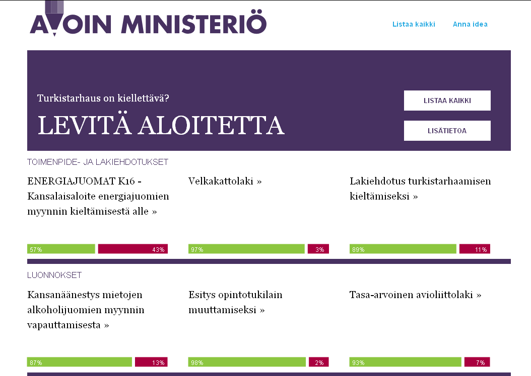 Open ministry : civic empowerment Since October 2012, the Finish constitution Introduce a new article : a citizen can submit proposals of laws to the