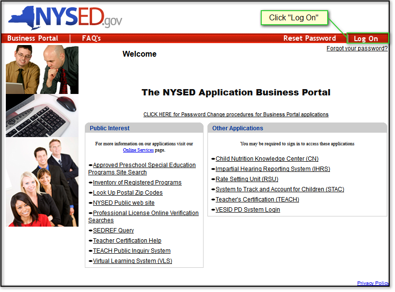Logging in to NYSSIS: NYSSIS uses the NYSED Application Business Portal.