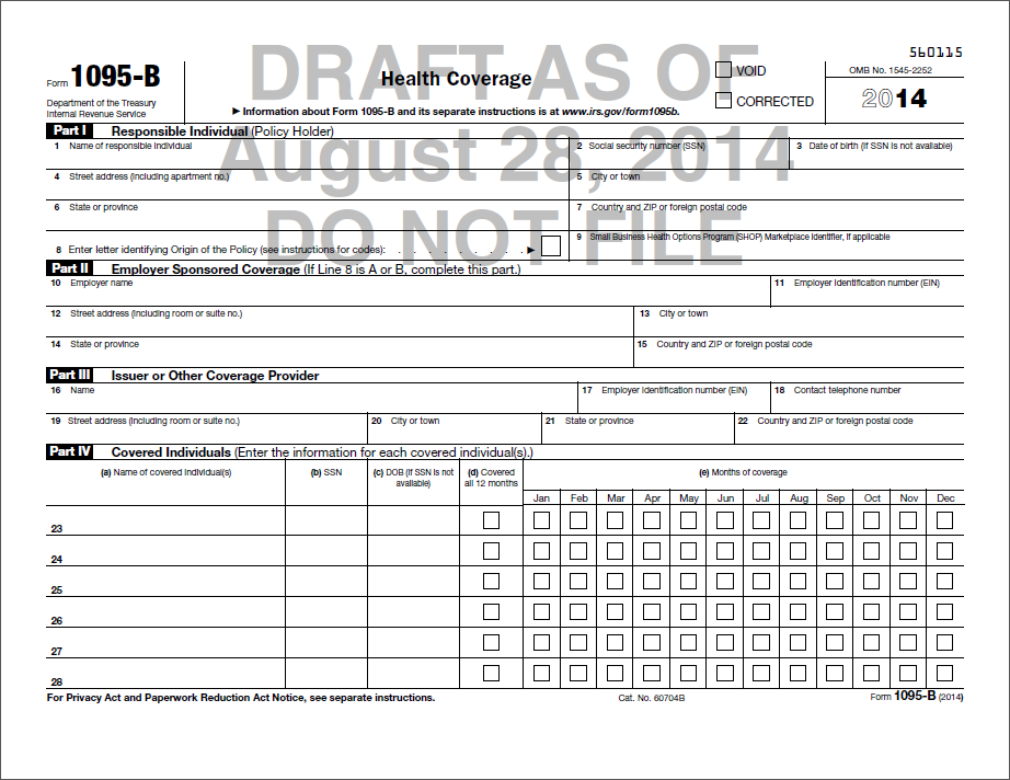 Section 6055: Required Returns Form 1094-B: Transmittal of Health Coverage