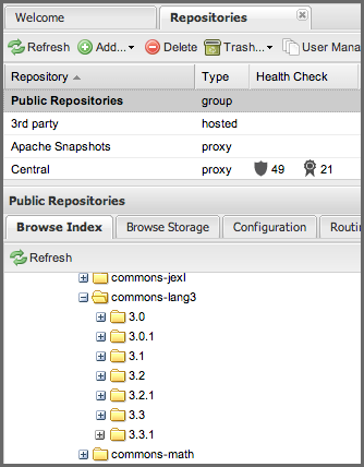 Repository Management with Nexus 81 / 405 Figure 5.18: Browsing a Nexus Group Index 5.10