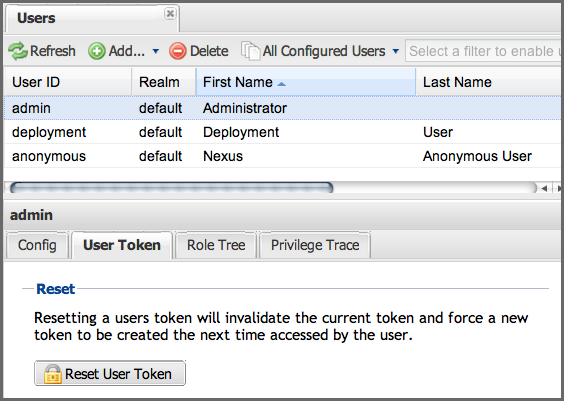 Repository Management with Nexus 152 / 405 Figure 6.43: User Token Reset for Specific User in Security Users Administration Warning Resetting user tokens forces the users to update the settings.