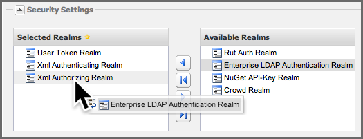 Repository Management with Nexus 168 / 405 have the Server configuration panel loaded, select Enterprise LDAP Authentication Realm (or OSS LDAP Authenication Realm) in the Available Realms list under