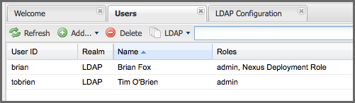 Repository Management with Nexus 180 / 405 Figure 8.9: All Default Realm Users If you wanted to see a list of all LDAP users, select LDAP from the All Configured Users drop-down shown in Figure 8.