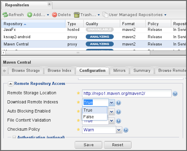 "Repository Management with Nexus 211 / 405 Figure 10.3: Enabling Remote Index Downloads for a Proxy Repository Click on the Save button in the dialog shown in Figure 10.3. Right-click on the repository row in the Repositories list and select ""Update Index""."