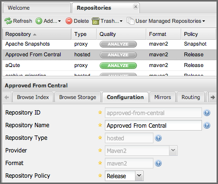 "Repository Management with Nexus 213 / 405 Figure 10.5: Adding the ""Approved From Central"" Hosted Repository Selecting Hosted Repository will then load the Configuration form."