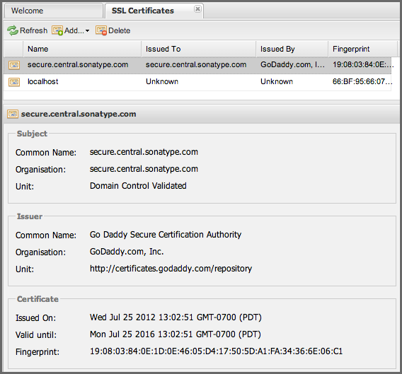 Repository Management with Nexus 351 / 405 21.2 SSL Client Certificates 21.2.1 SSL Certificate Management Nexus allows you to manage all SSL certificates directly in the user interface.