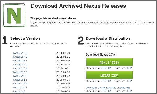 Repository Management with Nexus 30 / 405 Figure 3.2: Selecting a Specific Version of Nexus Open Source to Download 3.2.2 Downloading Nexus Professional Nexus Professional can be downloaded as zip or tar.